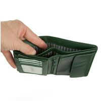 Branco – Large wallet / billfold size L for men made out of leather, upright format, hunter's green, model 12005-4