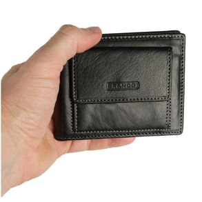 Branco – Small card holder pouch / money-clip wallet size S for men made out of leather, black, model 16749
