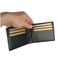 Branco – Small card holder pouch / money-clip wallet size S for men made out of leather, black, model 16749-3