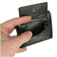 Branco – Kleine Geldklammer Geldbörse / Dollarclip Portemonnaie Größe S für Herren aus Leder, Schwarz, Modell 16749