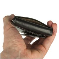 Branco – Small card holder pouch / money-clip wallet size S for men made out of leather, black, model 16749-5