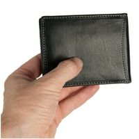 Branco – Small card holder pouch / money-clip wallet size S for men made out of leather, black, model 16749-2