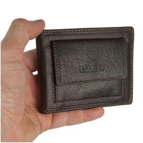 Branco – Kleine Geldklammer Geldbörse / Dollarclip Portemonnaie Größe S für Herren aus Leder, Braun, Modell 16749