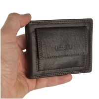 Branco – Small card holder pouch / money-clip wallet size S for men made out of leather, brown, model 16749