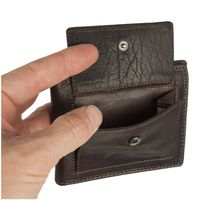 Branco – Small card holder pouch / money-clip wallet size S for men made out of leather, brown, model 16749-4