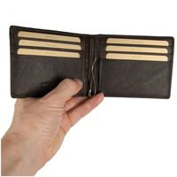 Branco – Small card holder pouch / money-clip wallet size S for men made out of leather, brown, model 16749-3