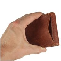 Branco – Small card holder pouch / money-clip wallet size S for men made out of leather, cognac brown, model 16749-5