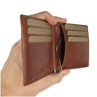 Branco – Small card holder pouch / money-clip wallet size S for men made out of leather, cognac brown, model 16749-4