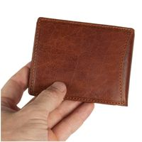 Branco – Small card holder pouch / money-clip wallet size S for men made out of leather, cognac brown, model 16749