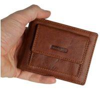 Branco – Kleine Geldklammer Geldbörse / Dollarclip Portemonnaie Größe S für Herren aus Leder, Cognac-Braun, Modell 16749