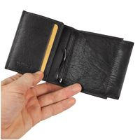 Branco – Small card holder pouch / money-clip wallet size S for men made out of leather, black, model 16795