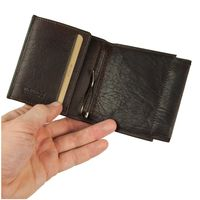 Branco – Small card holder pouch / money-clip wallet size S for men made out of leather, brown, model 16795-2