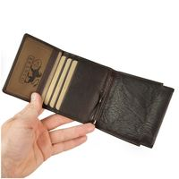 Branco – Small card holder pouch / money-clip wallet size S for men made out of leather, brown, model 16795-3