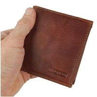 Branco – Small card holder pouch / money-clip wallet size S for men made out of leather, cognac brown, model 16795