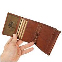 Branco – Kleine Geldklammer Geldbörse / Dollarclip Portemonnaie Größe S für Herren aus Leder, Cognac-Braun, Modell 16795