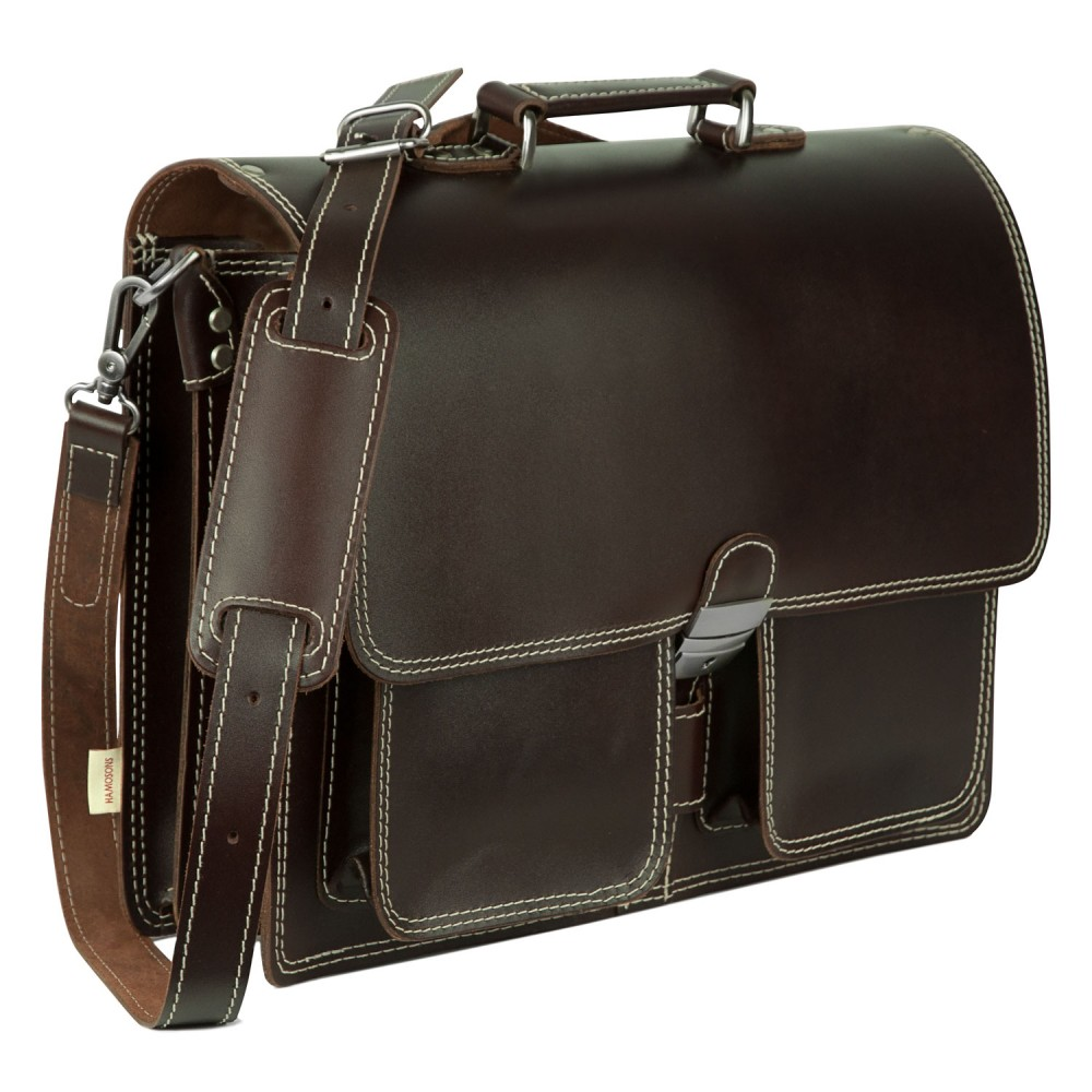 Hamosons Classic Briefcase Teacher Bag Size L Made Out Of Leather Brown