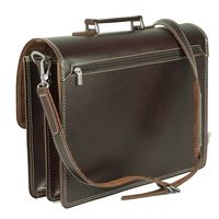 Hamosons – Classic briefcase / teacher bag size L made out of leather, brown, model 651-6
