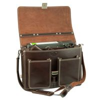 Hamosons – Classic briefcase / teacher bag size L made out of leather, brown, model 651-3
