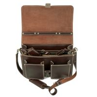 Hamosons – Klassische Aktentasche / Lehrertasche Größe L aus Leder, Braun, Modell 651