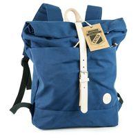 Enter – Großer Canvas Rucksack Größe L / Rolltop Backpack im coolen Retro-Style, Royal-Blau, Modell 1407