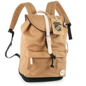 Enter, A16CC164523 – Mittelgroßer robuster caramelbrauner Canvas-Rucksack bzw. klassischer Daypack, Frontansicht - 01