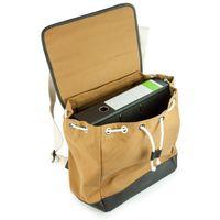 Enter, EHC SS162701  – Mittelgroßer camel-brauner Canvas-Rucksack bzw. Flap Backpack, Rückansicht - 05