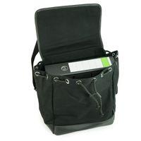 Enter, EHC SS162701  – Mittelgroßer schwarzer Canvas-Rucksack bzw. Flap Backpack, Aufsicht geöffnet mit A4 Aktenordner als Inhalt - 03