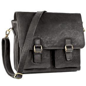 Jahn-Tasche, 439  – Lässige Schwarze Umhängetasche bzw. Messenger Bag bis 14 Zoll, Schrägansicht - 01