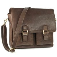 Jahn-Tasche – Casual vintage shoulder bag / messenger bag size M made out of leather, brown, model 439