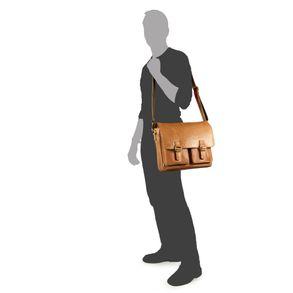 Jahn-Tasche, 439  – Lässige Cognac-Braune Umhängetasche bzw. Messenger Bag  bis 14 Zoll, Tasche über Schulter getragen - 08