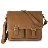Jahn-Tasche – Casual vintage shoulder bag / messenger bag size M made out of leather, cognac brown, model 439
