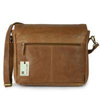 Jahn-Tasche – Lässige Vintage Umhängetasche / Messenger Bag Größe M aus Leder, Cognac-Braun, Modell 439