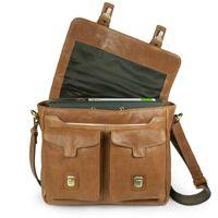 Jahn-Tasche, 439  – Lässige Cognac-Braune Umhängetasche bzw. Messenger Bag bis 14 Zoll, Frontansicht geöffnet mit Fokus auf Überschlag - 04