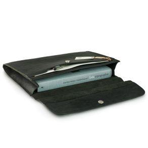 Jahn-Tasche, 664-cw - Schwarze A4 Aktenmappe bzw. Dokumentenmappe, Aufsicht geöffnet mit Inhalt - 01