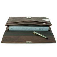Jahn-Tasche, 1022-cw - Braune A4 Aktenmappe bzw. Dokumentenmappe, liegend geöffnet - 03
