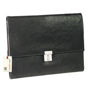 Jahn-Tasche, 1022-cw - Schwarze A4 Aktenmappe bzw. Dokumentenmappe, Schrägansicht - 01