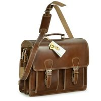 Hamosons – Classic briefcase / teacher bag size L made out of buffalo leather, hazelnut brown, model 600-n