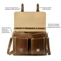 Hamosons, 600-opu-new - Klassische, haselnuss-braune Aktentasche bzw. Lehrertasche, Frontansicht geöffnet, Detailansicht Überschlag und Verschlüsse - 04