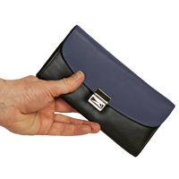 Hamosons – Two coloured professional waiter's wallet / waiter's purse made out of Nappa leather, black with dark blue, model 1014