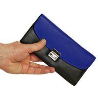 Hamosons – Zweifarbige Profi Kellnerbörse / Kellnergeldbeutel aus Leder, Schwarz mit Azur-Blau, Modell 1014