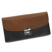 Hamosons – Two coloured professional waiter's wallet / waiter's purse made out of Nappa leather, black with brown, model 1014