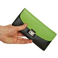 Hamosons – Two coloured professional waiter's wallet / waiter's purse made out of Nappa leather, black with spring green, model 1014
