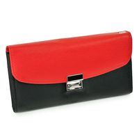 Hamosons – Two coloured professional waiter's wallet / waiter's purse made out of Nappa leather, black with light red, model 1014