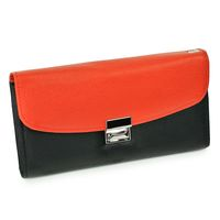 Hamosons – Two coloured professional waiter's wallet / waiter's purse made out of Nappa leather, black with orange, model 1014