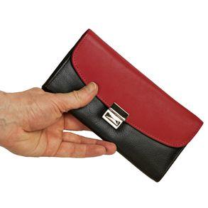 Hamosons, 1014 - Zweifarbige/r Profi Kellnerbörse bzw. Kellnergeldbeutel, Schwarz mit Rot, Frontansicht, in Hand gehalten - 05