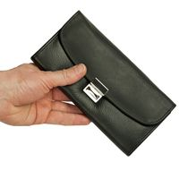 Hamosons – Professinoal waiter's wallet / waiter's purse made out of Nappa leather and oiled leather, black, model 1014