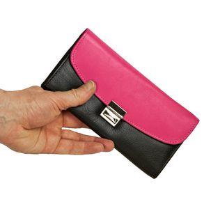 Hamosons, 1014 - Zweifarbige/r Profi Kellnerbörse bzw. Kellnergeldbeutel, Schwarz mit Rosa Pink, Frontansicht, in Hand gehalten - 02