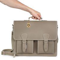 Hamosons – Klassische Aktentasche / Lehrertasche Größe L aus Büffel-Leder, Grau-Taupe Modell 600