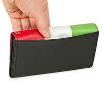 Hamosons – Profi Kellnerbörse / Kellnergeldbeutel aus Leder, in  Schwarz mit Grün / Weiß / Rot (Italien) , Modell 1012