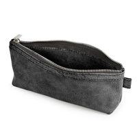 Jahn-Tasche, 010 - Exklusives Federmäppchen bzw. Schlampermäppchen aus Büffelleder in Schwarz, Aufsicht geöffnet ohne Inhalt- 03